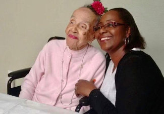 senior woman smiling with a beautiful lady